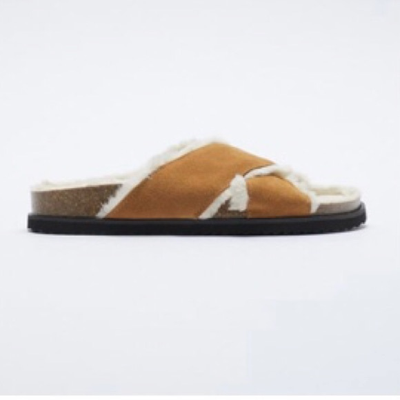 NWT Zara Faux Fur Lined Flat Leather Sandal Brown